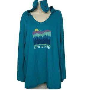 Life is Good Graphic Hooded Smooth Tee XL Blue
